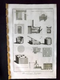 Diderot C1760 Antique Print. Oeconomie Rustique 02 & 03 Conservation of Grains